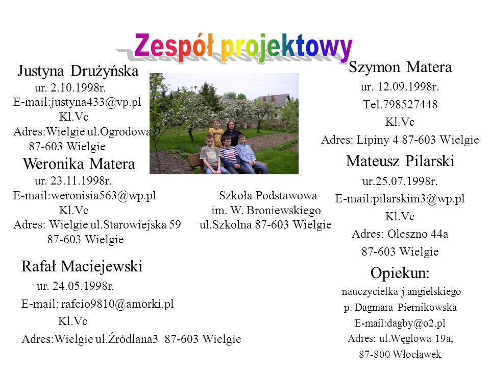 Zespół projektowy Szymon Matera Justyna Drużyńska Mateusz Pilarski