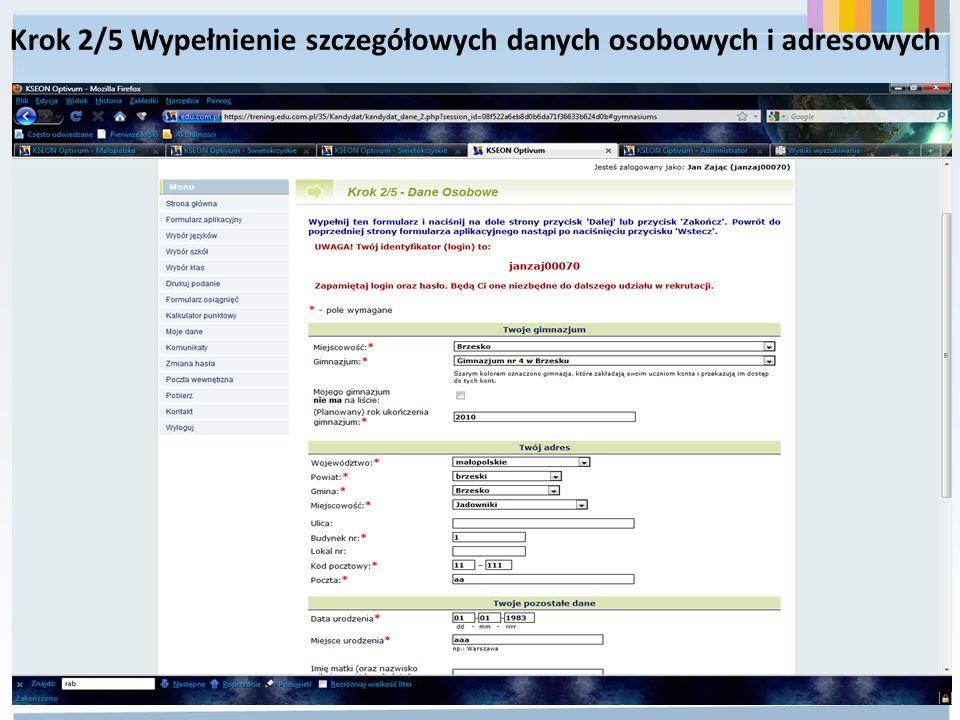Krok 2/5 Wypełnienie szczegółowych danych osobowych i adresowych