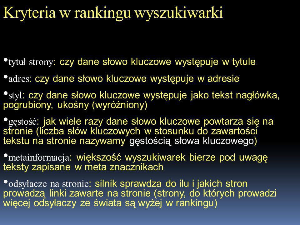 Kryteria w rankingu wyszukiwarki