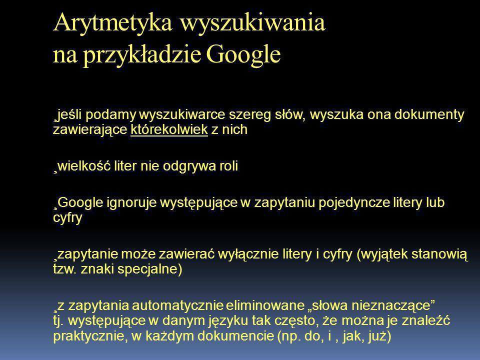 Arytmetyka wyszukiwania na przykładzie Google
