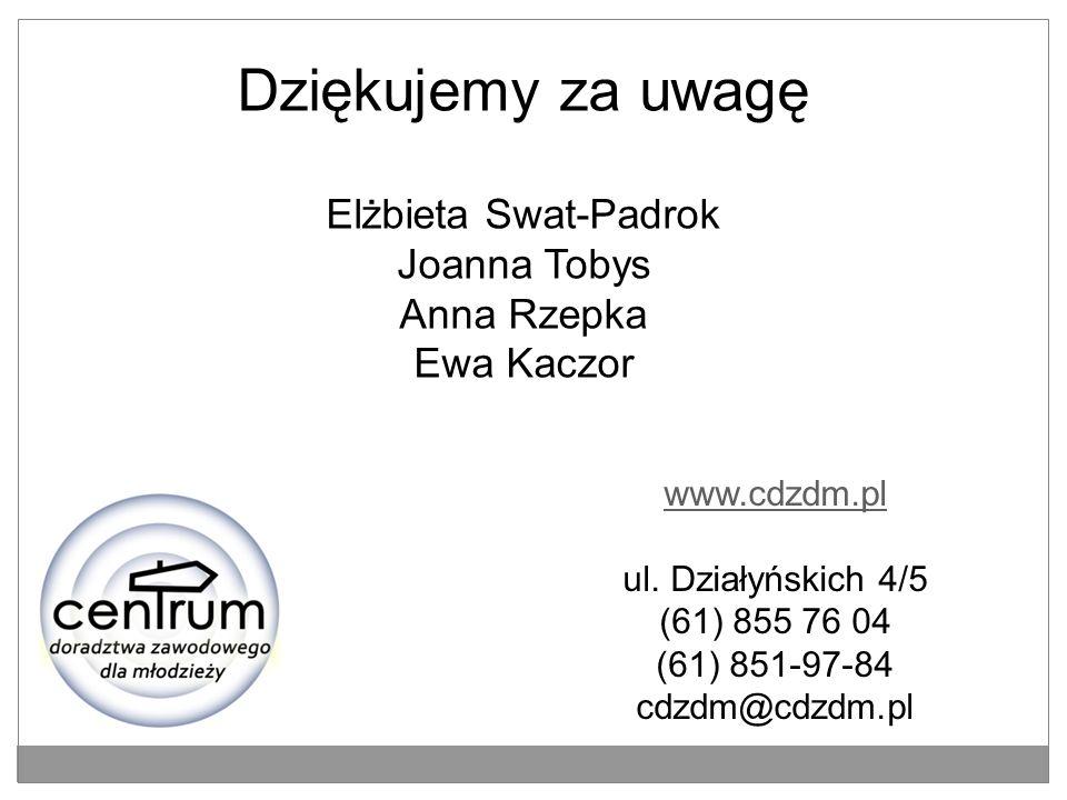 Dziękujemy za uwagę Elżbieta Swat-Padrok Joanna Tobys Anna Rzepka