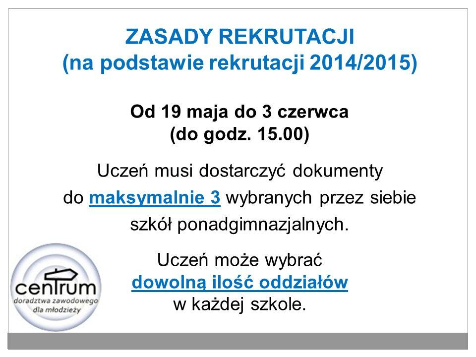 ZASADY REKRUTACJI (na podstawie rekrutacji 2014/2015)