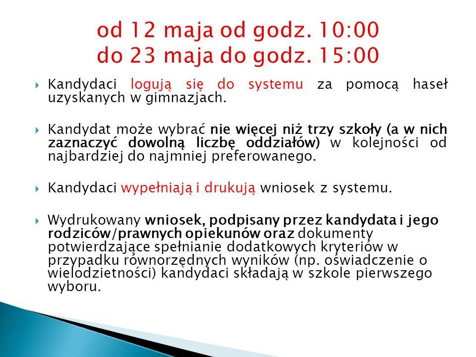 od 12 maja od godz. 10:00 do 23 maja do godz. 15:00