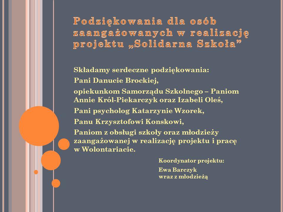 """Podziękowania dla osób zaangażowanych w realizację projektu """"Solidarna Szkoła"""