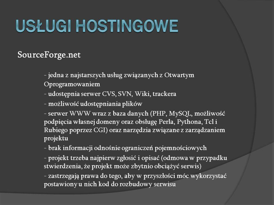 USŁUGI HOSTINGOWE SourceForge.net