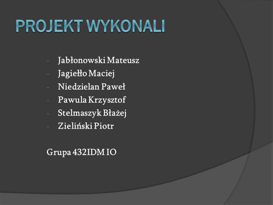 PROJEKT WYKONALI Jabłonowski Mateusz Jagiełło Maciej Niedzielan Paweł