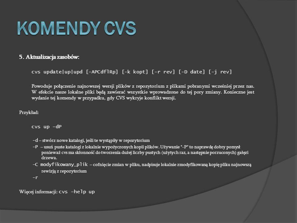 Komendy cvs 5. Aktualizacja zasobów: