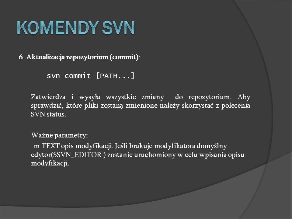 Komendy SVN 6. Aktualizacja repozytorium (commit):