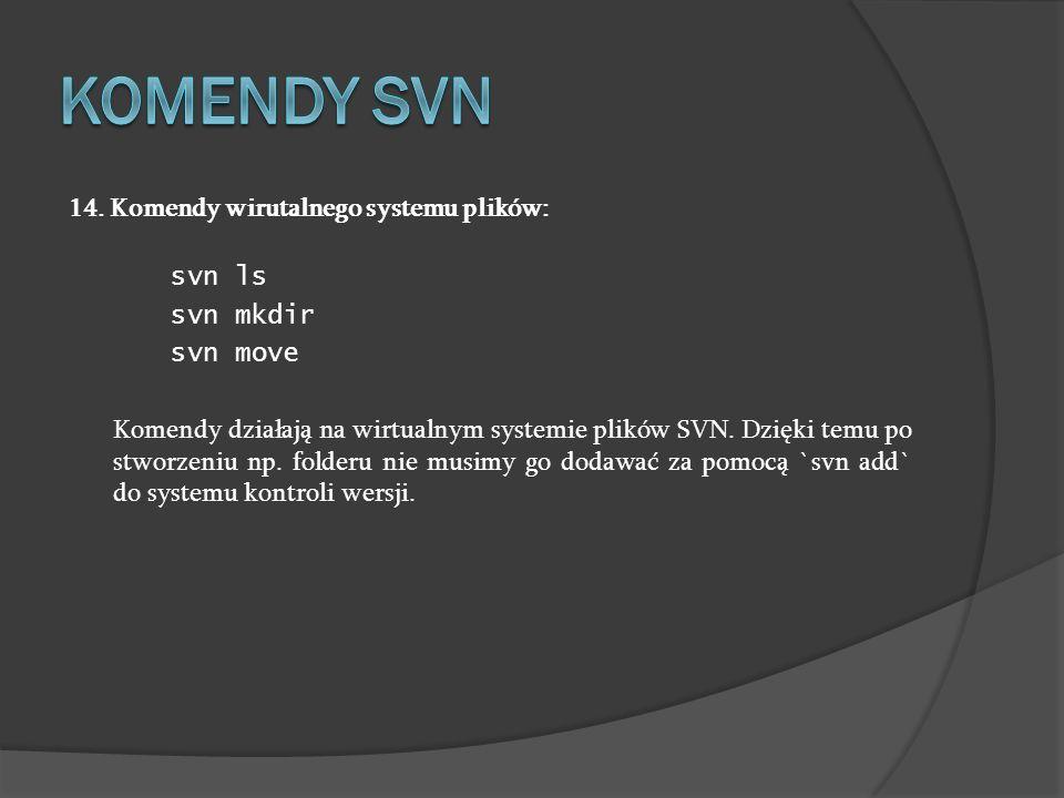 Komendy SVN 14. Komendy wirutalnego systemu plików: svn ls svn mkdir