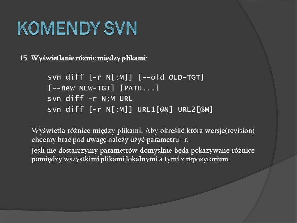 Komendy SVN 15. Wyświetlanie różnic między plikami: