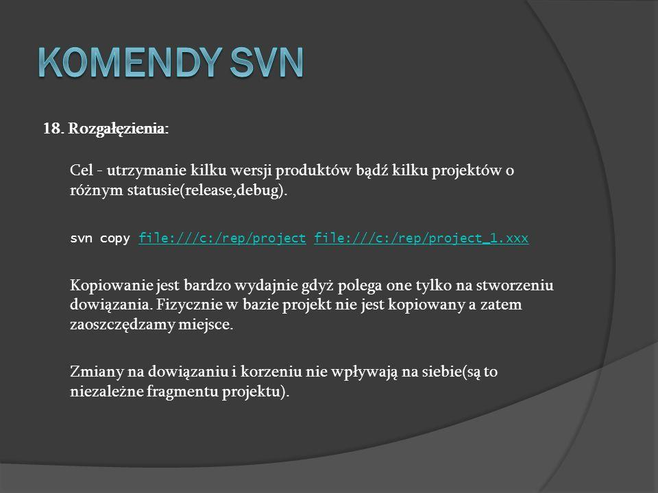 Komendy SVN 18. Rozgałęzienia: