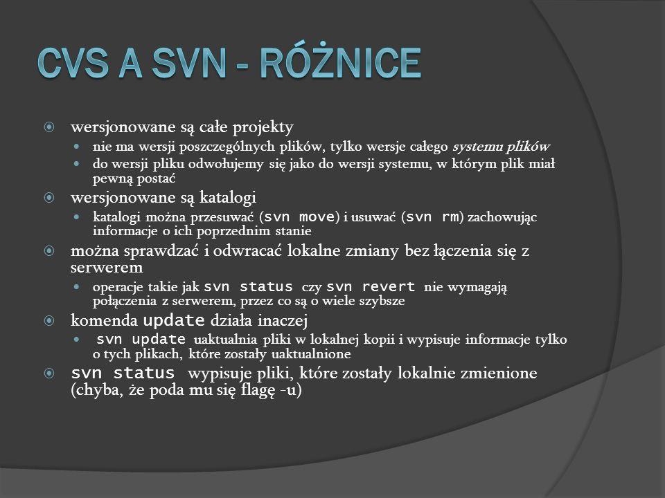 CVS a SVN - różnice wersjonowane są całe projekty