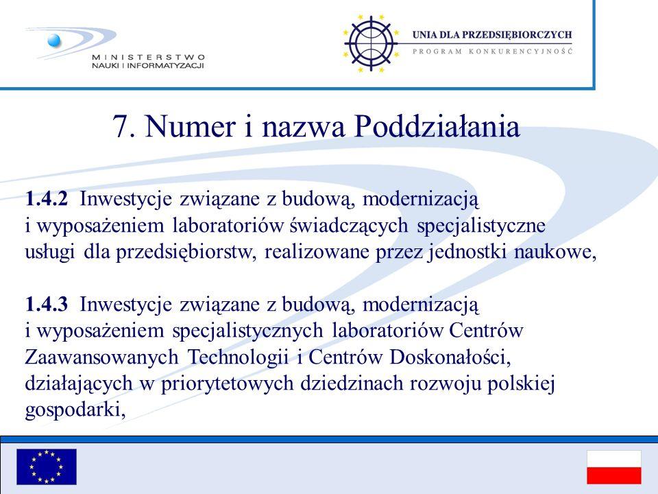 7. Numer i nazwa Poddziałania