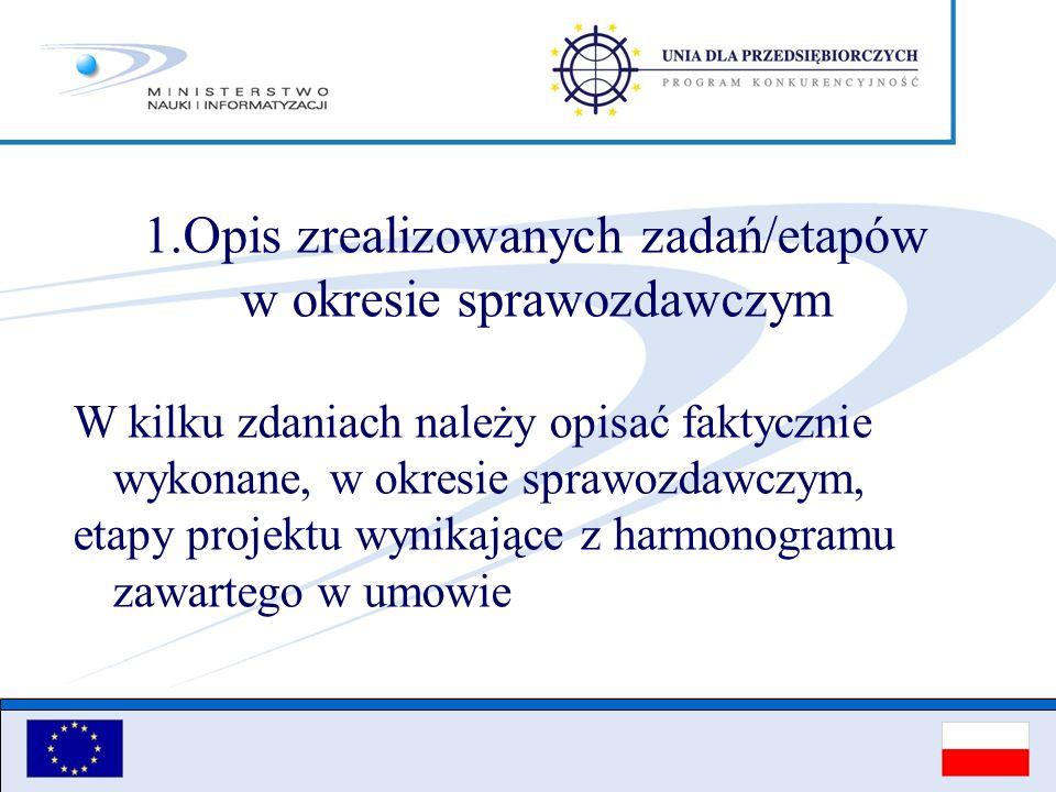 Opis zrealizowanych zadań/etapów w okresie sprawozdawczym