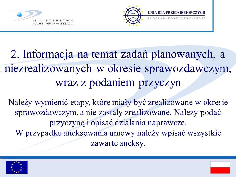 2. Informacja na temat zadań planowanych, a niezrealizowanych w okresie sprawozdawczym, wraz z podaniem przyczyn