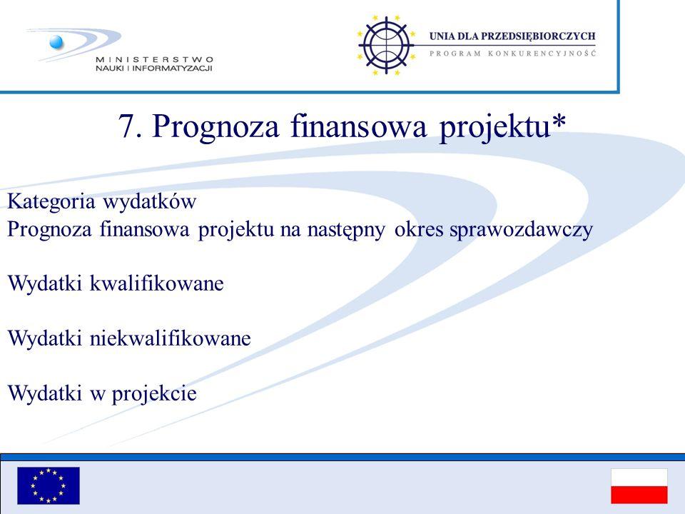 7. Prognoza finansowa projektu*