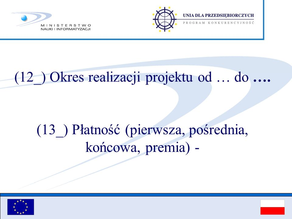 (12_) Okres realizacji projektu od … do ….