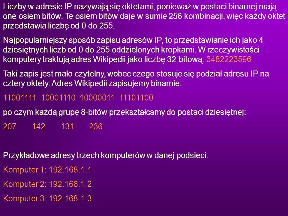 Liczby w adresie IP nazywają się oktetami, ponieważ w postaci binarnej mają one osiem bitów. Te osiem bitów daje w sumie 256 kombinacji, więc każdy oktet przedstawia liczbę od 0 do 255.