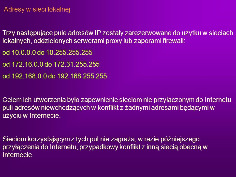 Adresy w sieci lokalnej