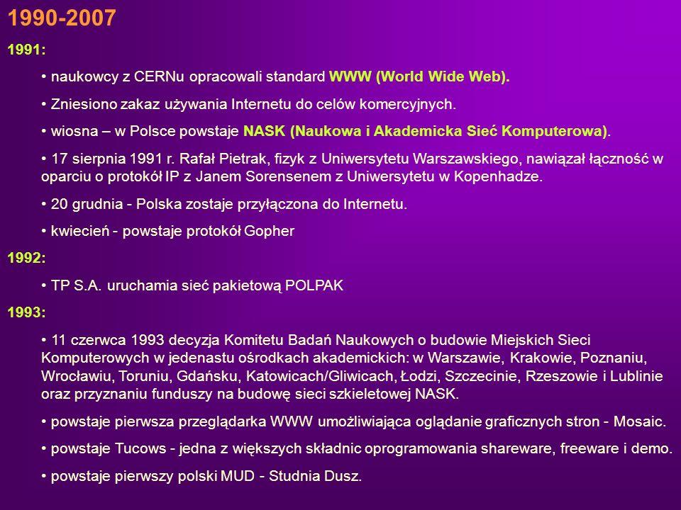 1990-2007 1991: naukowcy z CERNu opracowali standard WWW (World Wide Web). Zniesiono zakaz używania Internetu do celów komercyjnych.