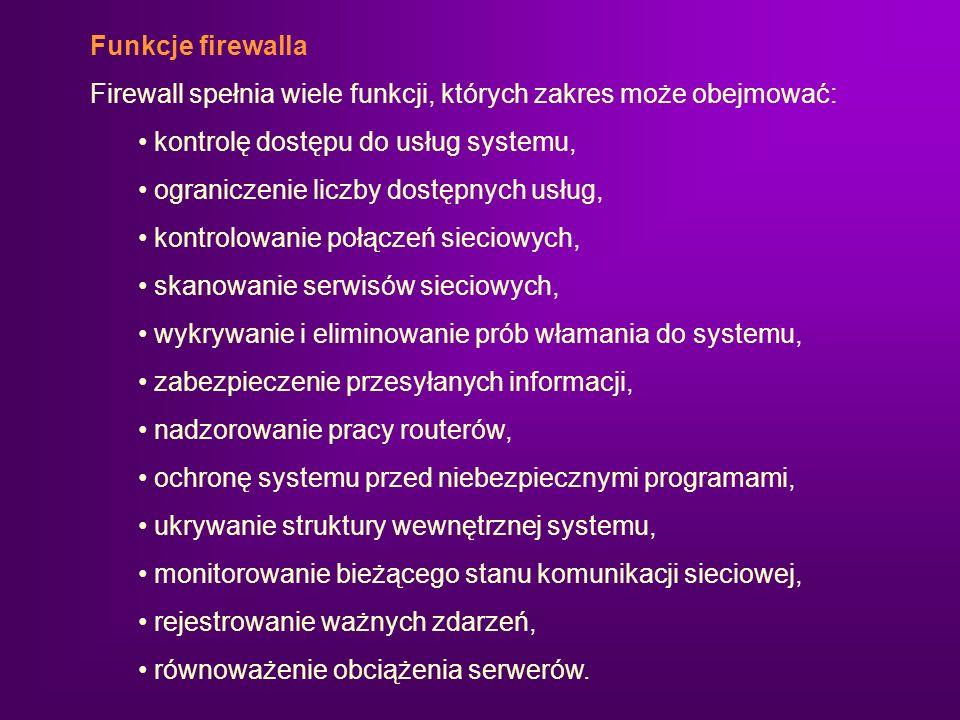 Funkcje firewalla Firewall spełnia wiele funkcji, których zakres może obejmować: kontrolę dostępu do usług systemu,