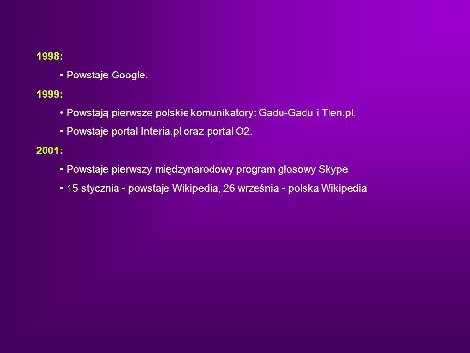 1998: Powstaje Google. 1999: Powstają pierwsze polskie komunikatory: Gadu-Gadu i Tlen.pl. Powstaje portal Interia.pl oraz portal O2.