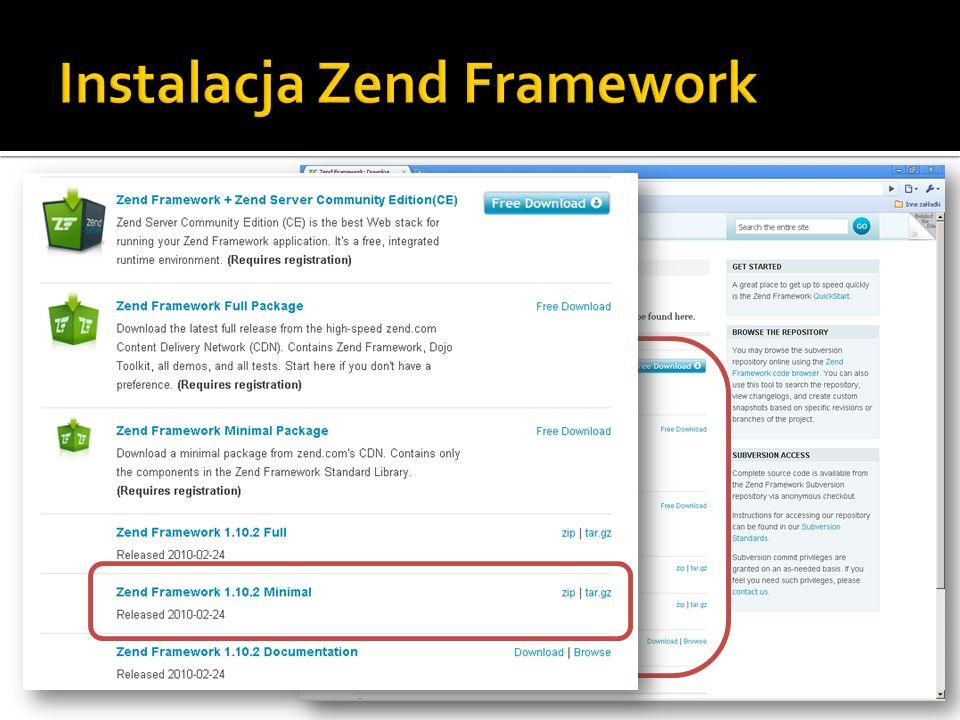 Instalacja Zend Framework