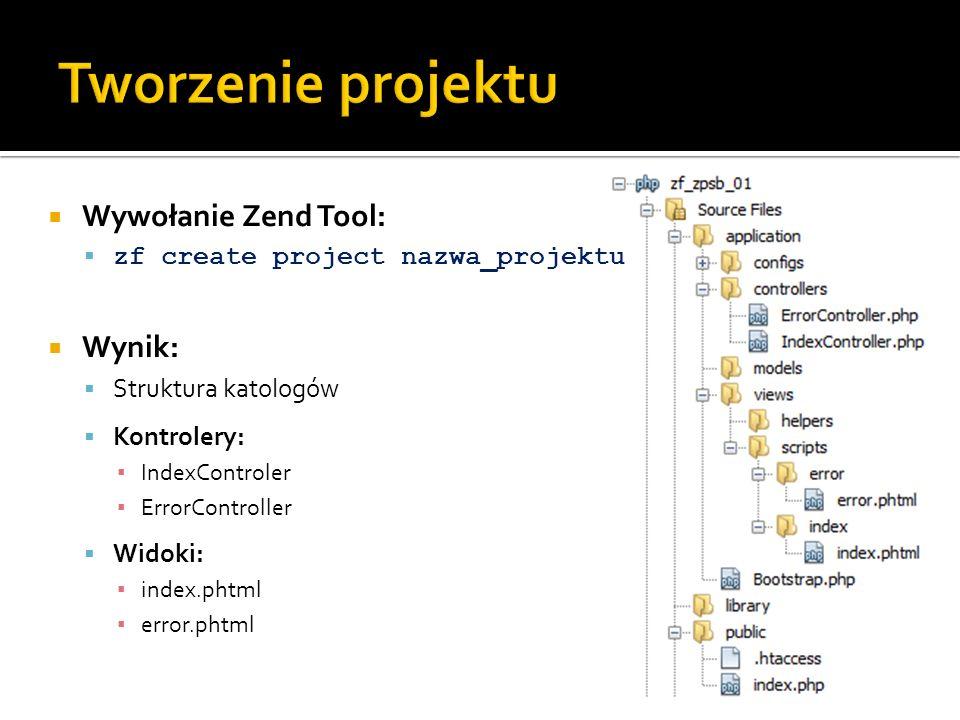 Tworzenie projektu Wywołanie Zend Tool: Wynik: