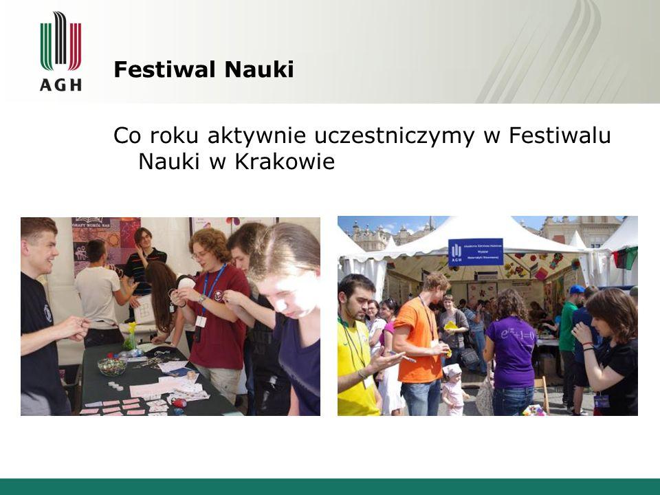 Festiwal Nauki Co roku aktywnie uczestniczymy w Festiwalu Nauki w Krakowie
