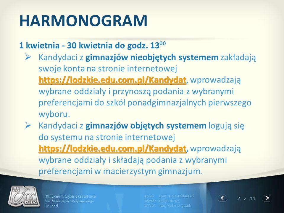 HARMONOGRAM 1 kwietnia - 30 kwietnia do godz. 1300