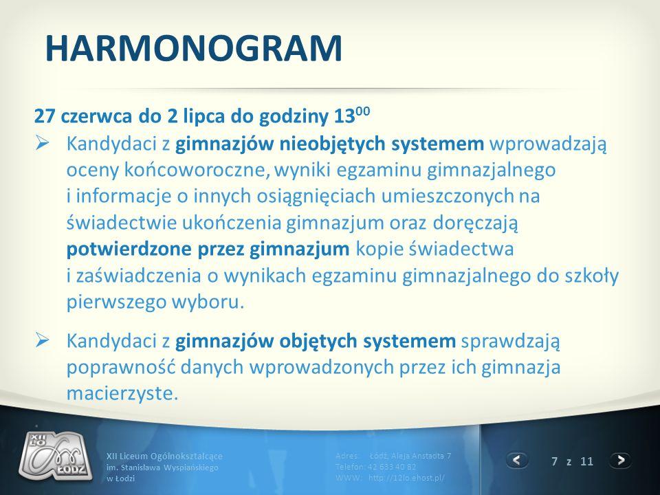 HARMONOGRAM 27 czerwca do 2 lipca do godziny 1300