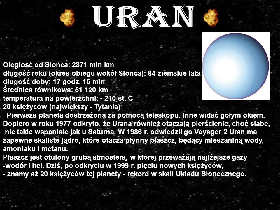 uran Oległość od Słońca: 2871 mln km