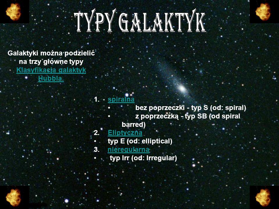 TYPY GALAKTYK Galaktyki można podzielić na trzy główne typy Klasyfikacja galaktyk Hubbla. spiralna.