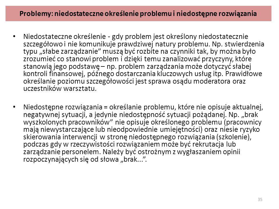 Problemy: niedostateczne określenie problemu i niedostępne rozwiązania