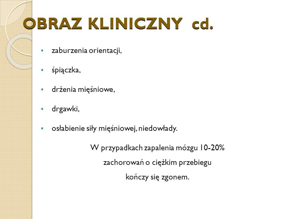 OBRAZ KLINICZNY cd. zaburzenia orientacji, śpiączka,