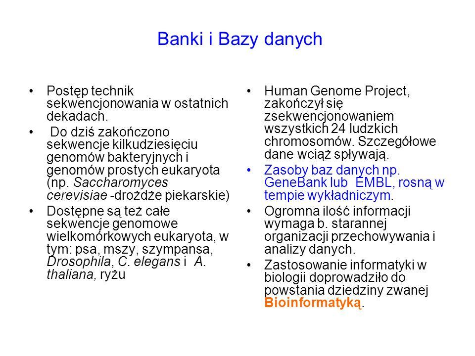 Banki i Bazy danych Postęp technik sekwencjonowania w ostatnich dekadach.