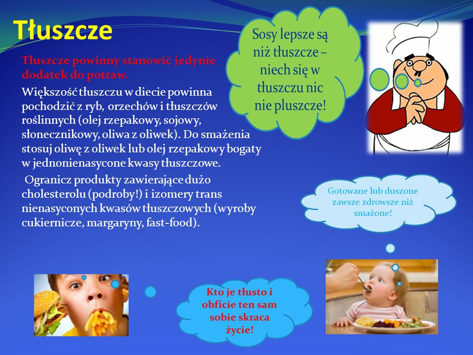 Tłuszcze Tłuszcze powinny stanowić jedynie dodatek do potraw.