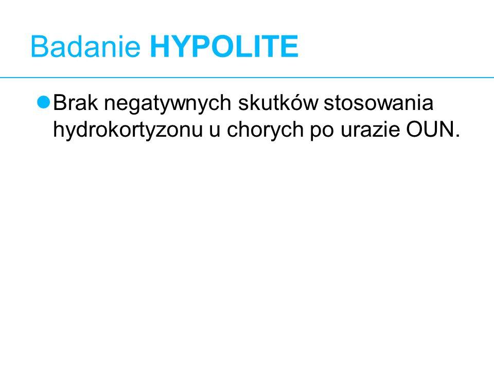 Badanie HYPOLITE 11 Brak negatywnych skutków stosowania hydrokortyzonu u chorych po urazie OUN. 11