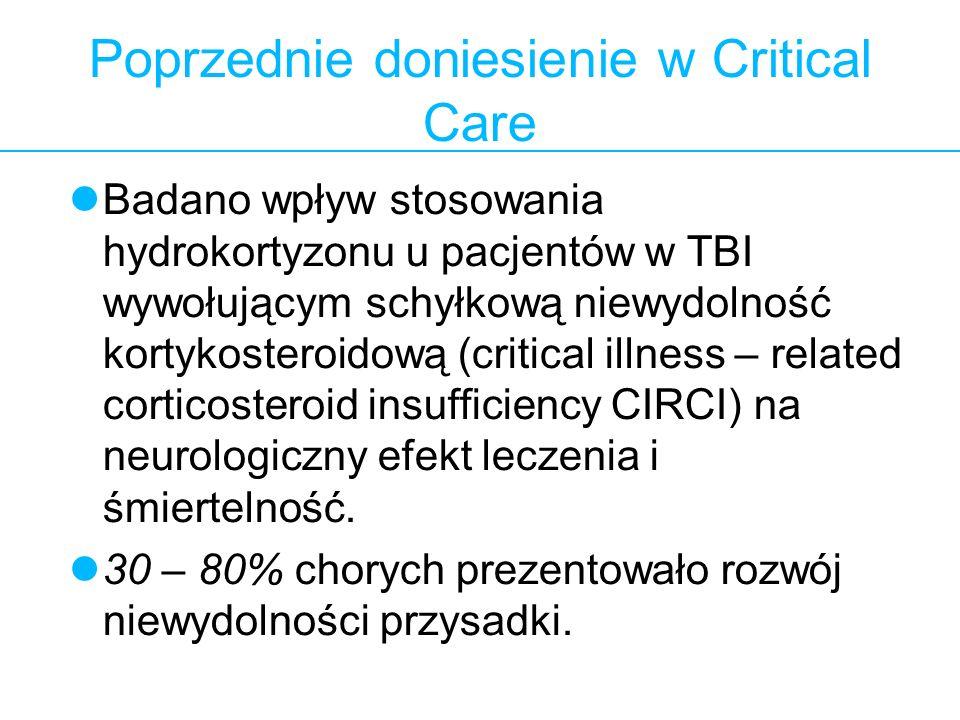 Poprzednie doniesienie w Critical Care