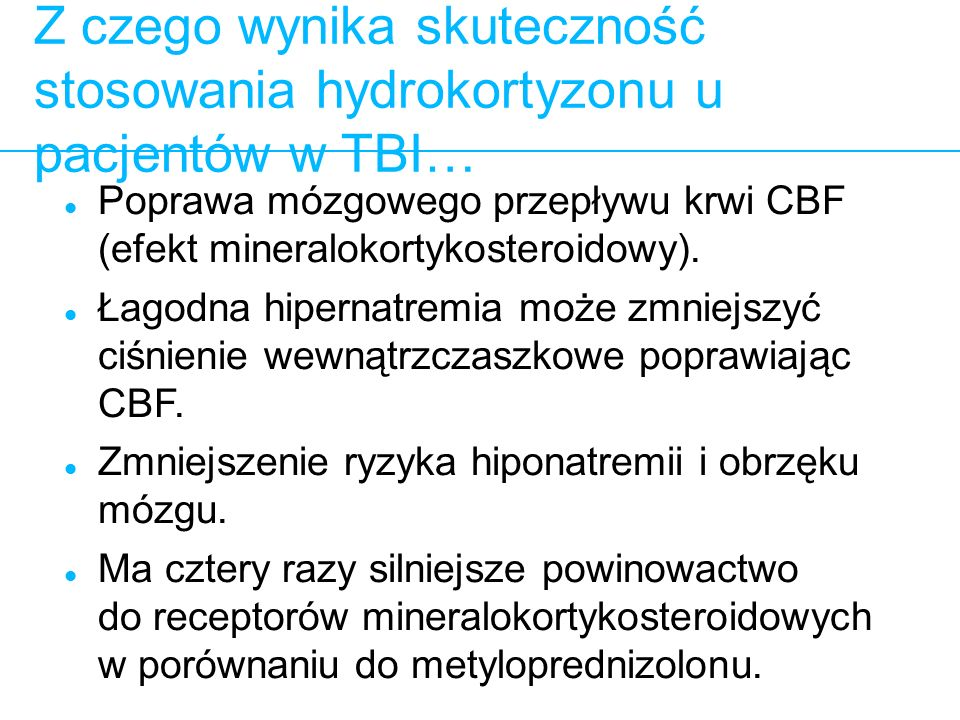 Z czego wynika skuteczność stosowania hydrokortyzonu u pacjentów w TBI…