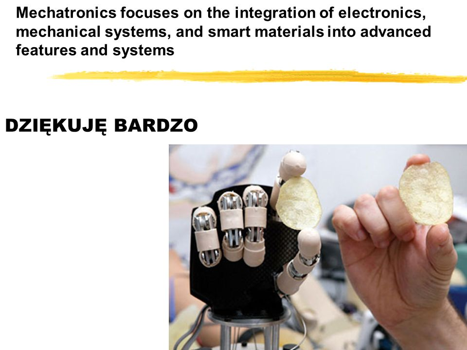 Mechatronics focuses on the integration of electronics, mechanical systems, and smart materials into advanced features and systems