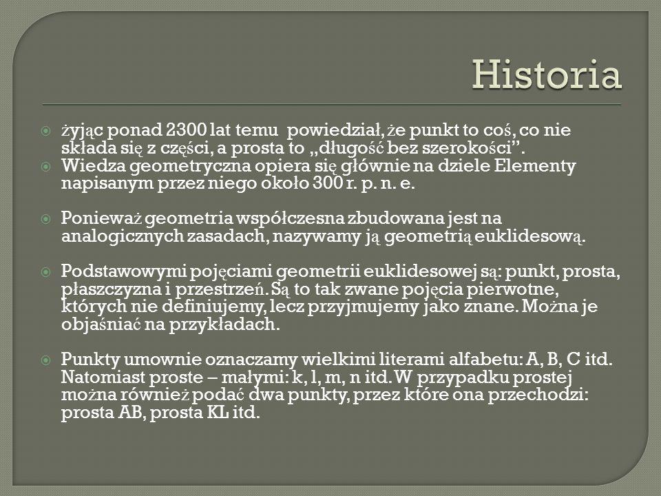 """Historia żyjąc ponad 2300 lat temu powiedział, że punkt to coś, co nie składa się z części, a prosta to """"długość bez szerokości ."""