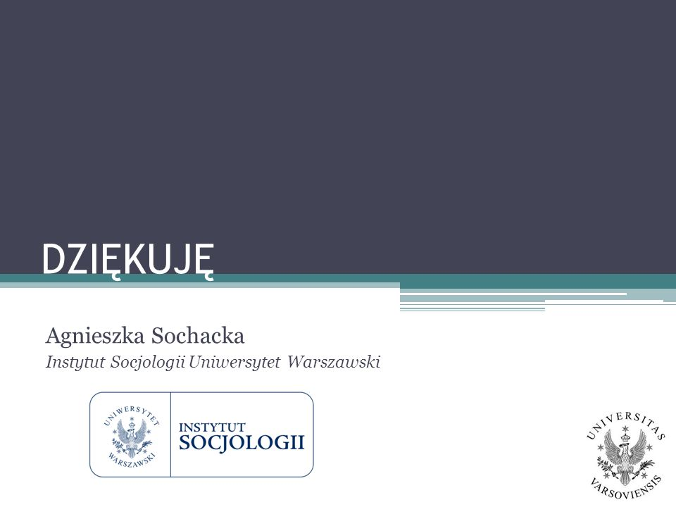 Agnieszka Sochacka Instytut Socjologii Uniwersytet Warszawski