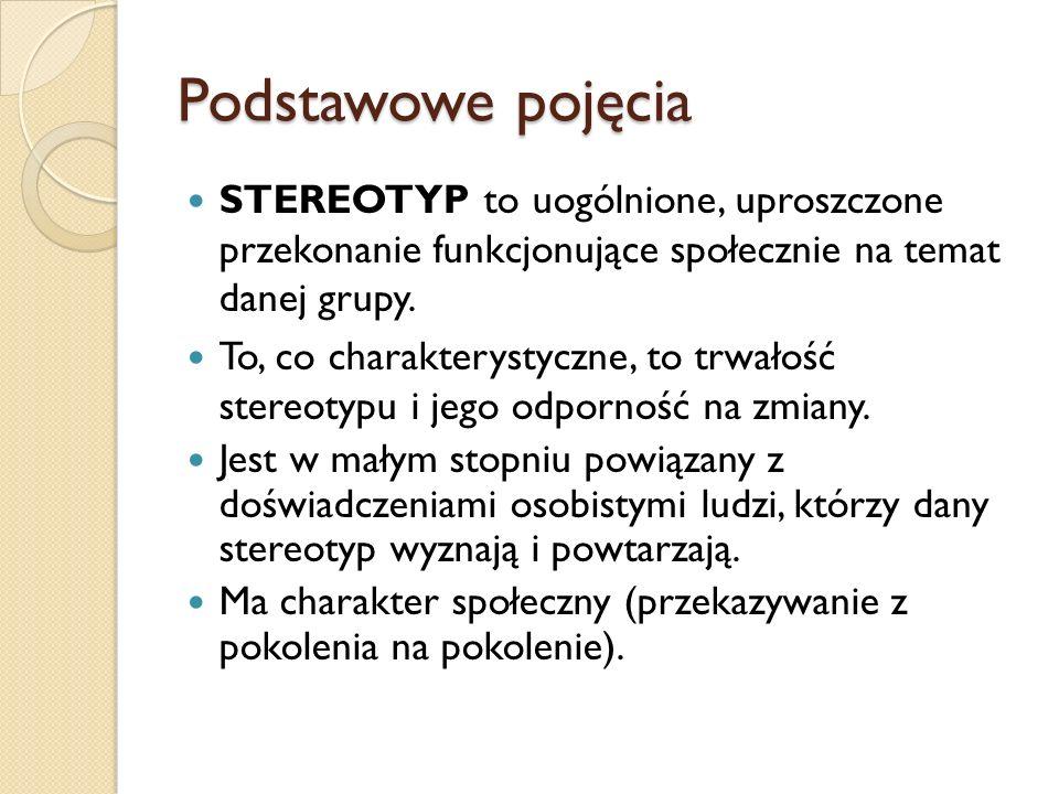 Podstawowe pojęcia STEREOTYP to uogólnione, uproszczone przekonanie funkcjonujące społecznie na temat danej grupy.