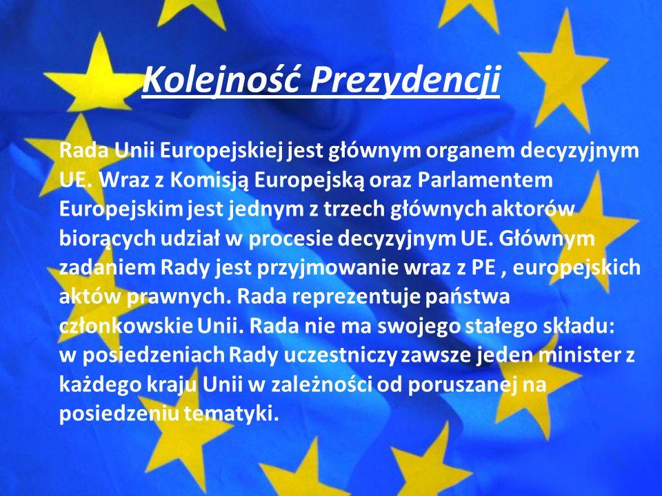 Kolejność Prezydencji Rada Unii Europejskiej jest głównym organem decyzyjnym UE.