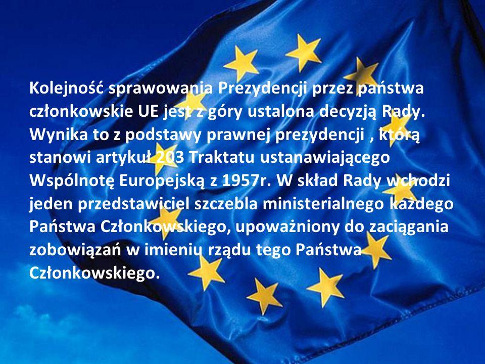Kolejność sprawowania Prezydencji przez państwa członkowskie UE jest z góry ustalona decyzją Rady.