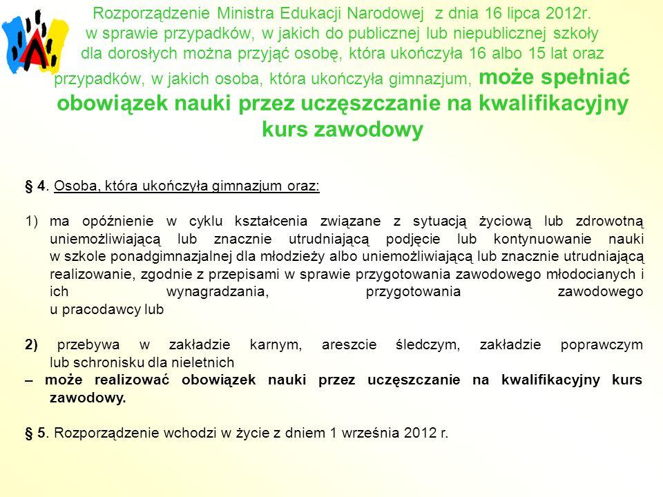 Rozporządzenie Ministra Edukacji Narodowej z dnia 16 lipca 2012r