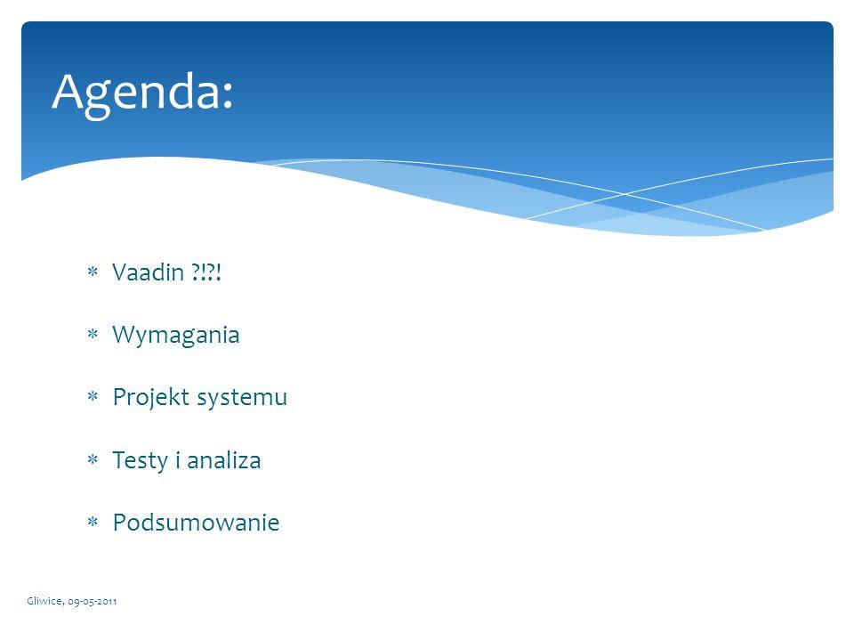 Agenda: Vaadin ! ! Wymagania Projekt systemu Testy i analiza