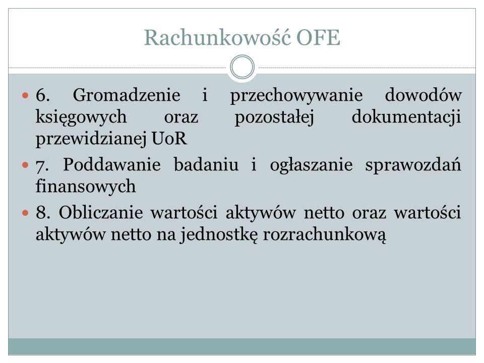 Rachunkowość OFE 6. Gromadzenie i przechowywanie dowodów księgowych oraz pozostałej dokumentacji przewidzianej UoR.