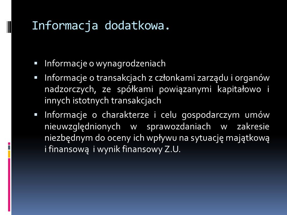 Informacja dodatkowa. Informacje o wynagrodzeniach